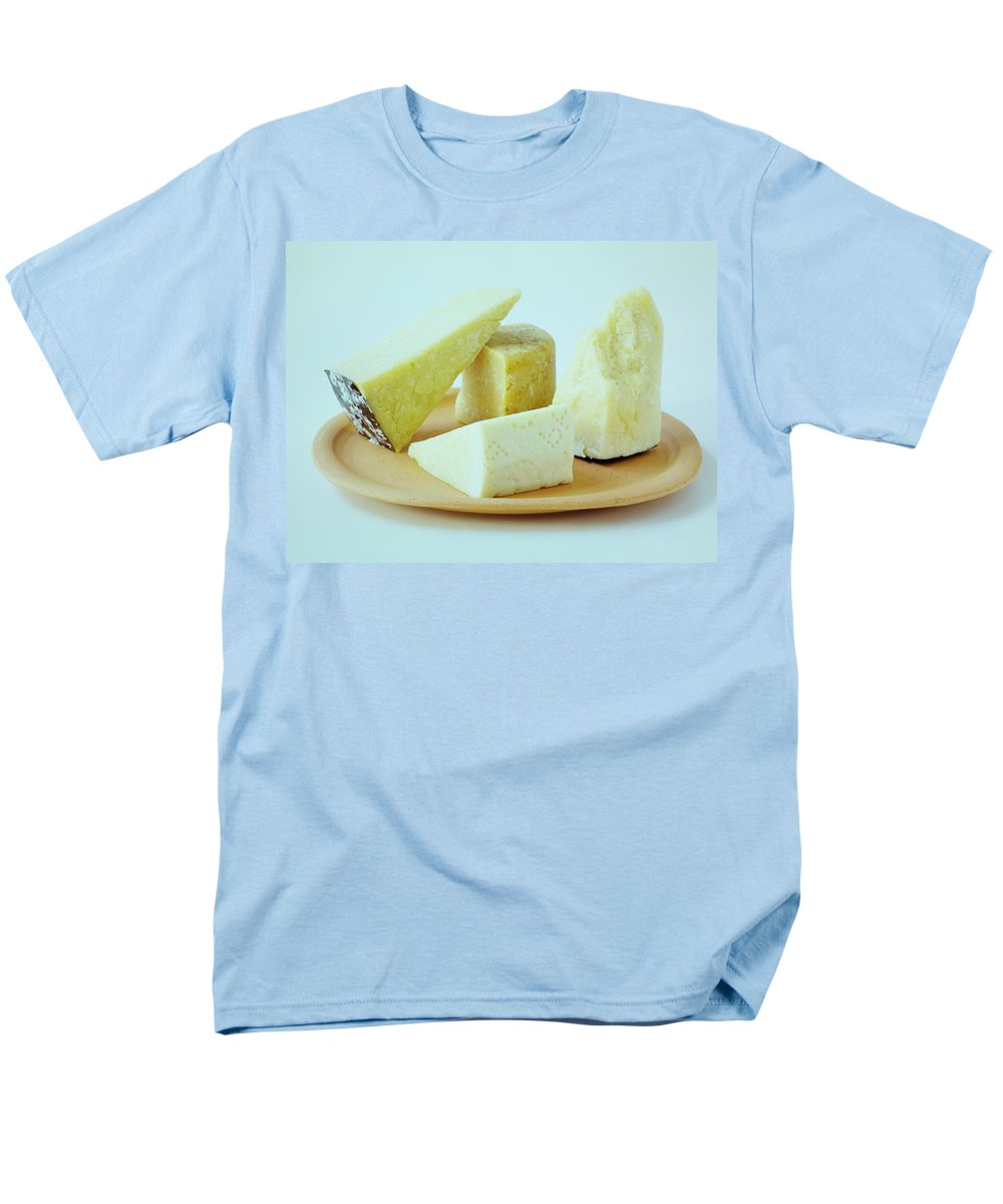 Dairy Men's T-Shirt (Regular Fit) featuring the photograph A Variety Of Cheese On A Plate by Romulo Yanes