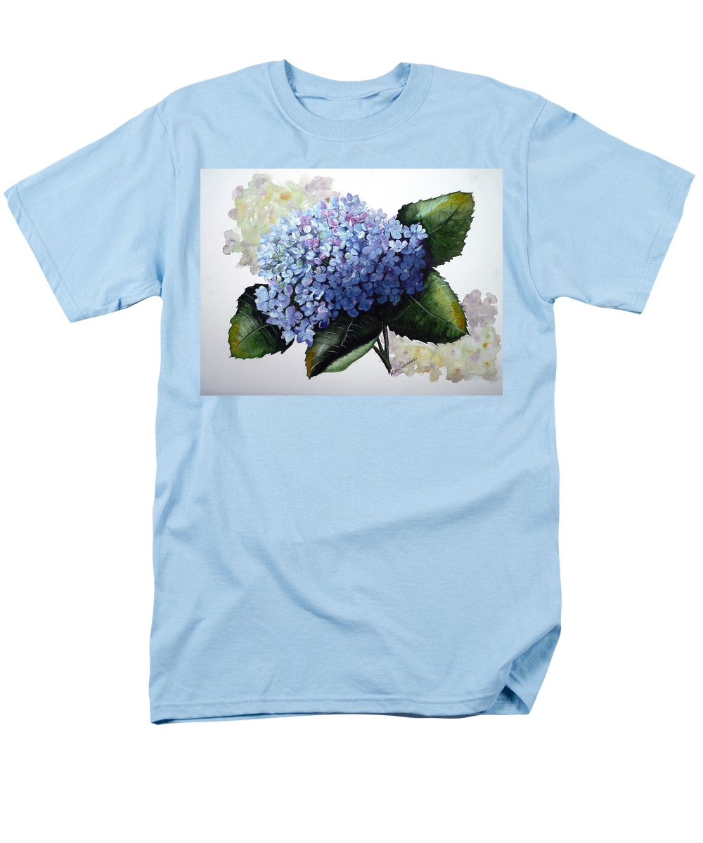 Floral Paintings  Flower Paintings Blue Paintings Botanical Paintings Blue Hydrangea Paintings Greeting Card Paintings Canvas Prints Paintings Poster Art Prints Paintings Bloom Painting Men's T-Shirt (Regular Fit) featuring the painting Blue Hydrangea by Karin Dawn Kelshall- Best