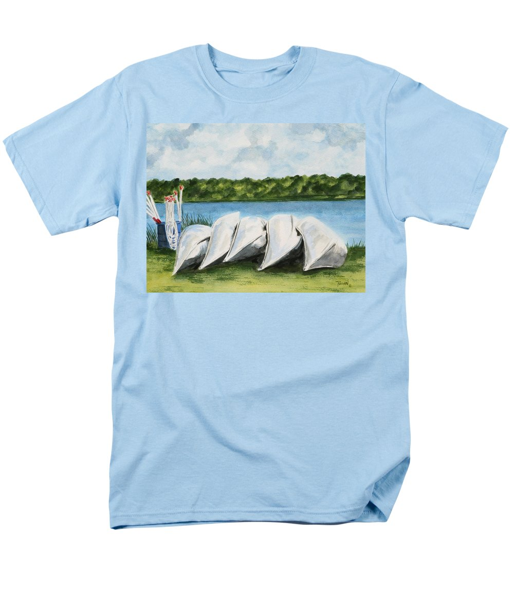 Canoes Men's T-Shirt (Regular Fit) featuring the painting Lazy River by Regan J Smith