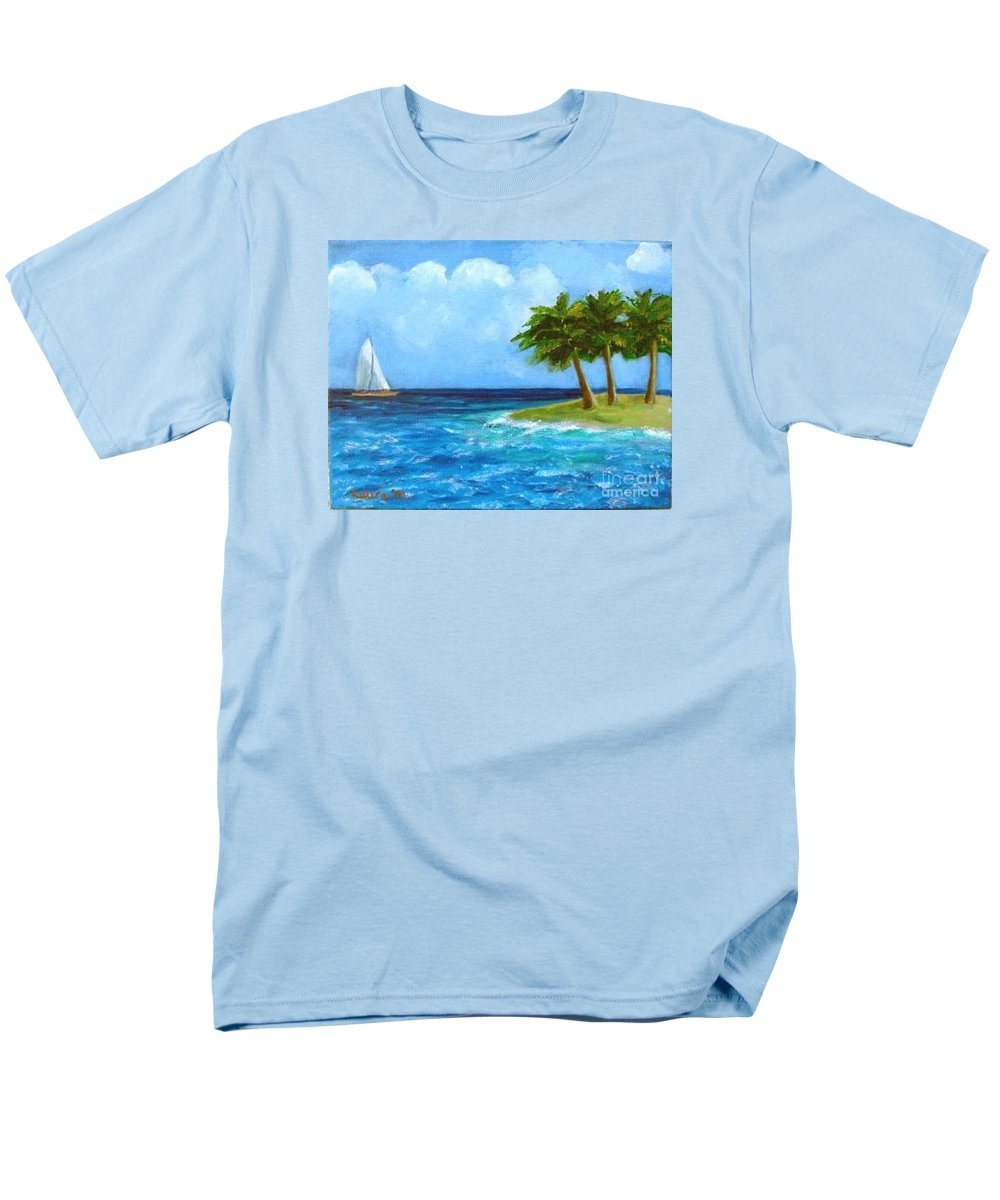 Boats Men's T-Shirt (Regular Fit) featuring the painting Perfect Sailing Day by Laurie Morgan
