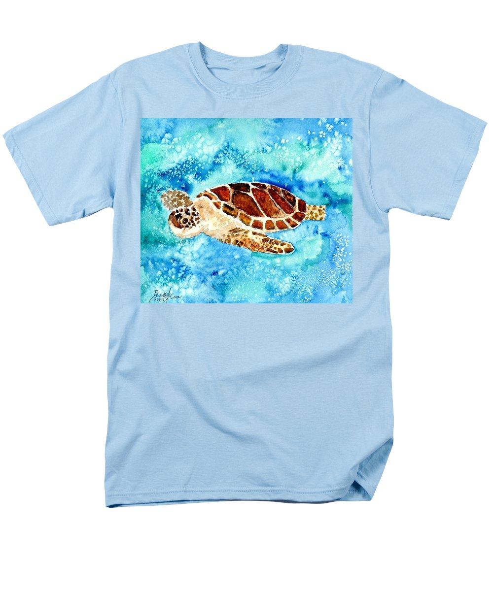 Sea Turtle Men's T-Shirt (Regular Fit) featuring the painting Sea Turtle by Derek Mccrea