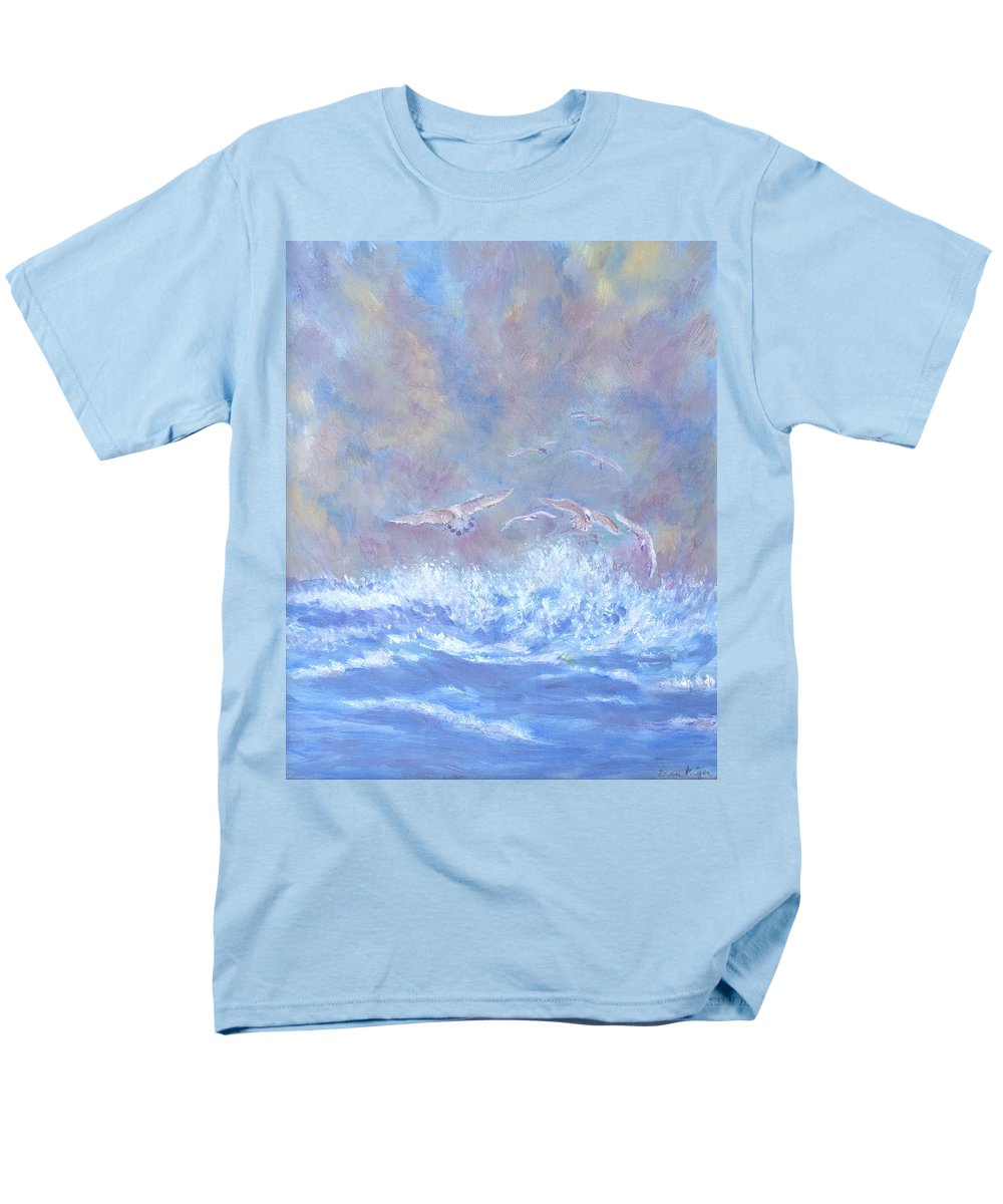 Seascape Men's T-Shirt (Regular Fit) featuring the painting Seagulls at Play by Ben Kiger