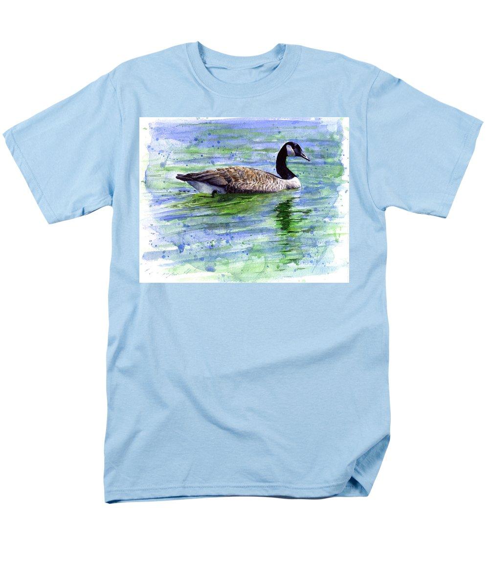 Bird Men's T-Shirt (Regular Fit) featuring the painting Canada Goose by John D Benson