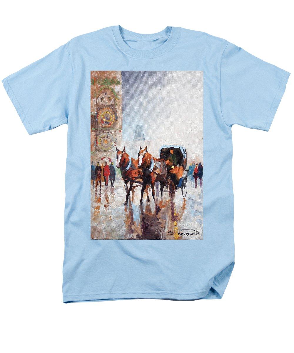 Prague Men's T-Shirt (Regular Fit) featuring the painting Prague Old Town Square by Yuriy Shevchuk