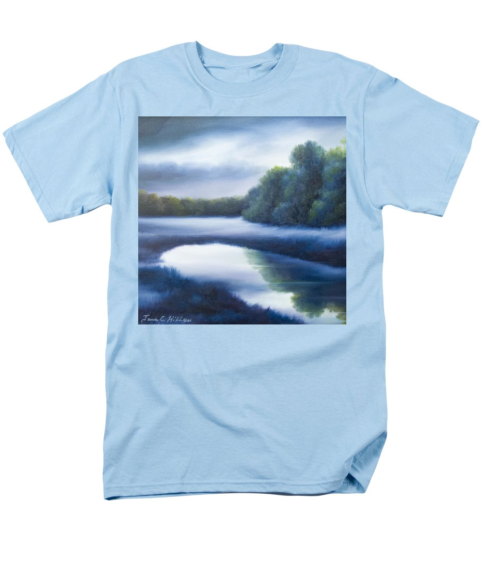 Nature; Lake; Sunset; Sunrise; Serene; Forest; Trees; Water; Ripples; Clearing; Lagoon; James Christopher Hill; Jameshillgallery.com; Foliage; Sky; Realism; Oils; Green; Tree; Blue; Pink; Pond; Lake Men's T-Shirt (Regular Fit) featuring the painting A Day In The Life 4 by James Christopher Hill