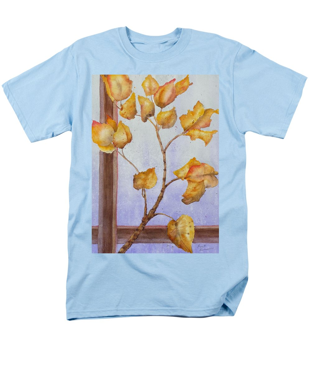 Leaves Men's T-Shirt (Regular Fit) featuring the painting Aspen by Ruth Kamenev