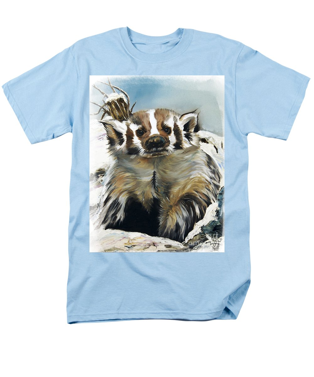 Southwest Art Men's T-Shirt (Regular Fit) featuring the painting Badger - Guardian Of The South by J W Baker