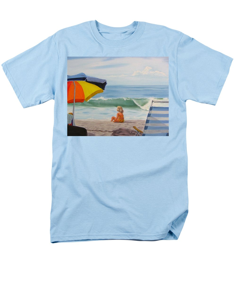 Seascape Men's T-Shirt (Regular Fit) featuring the painting Beach Scene - Childhood by Lea Novak