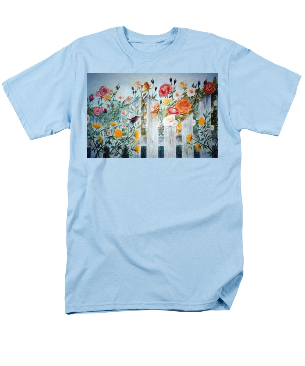 Roses; Flowers; Sc Wren Men's T-Shirt (Regular Fit) featuring the painting Carolina Wren And Roses by Ben Kiger