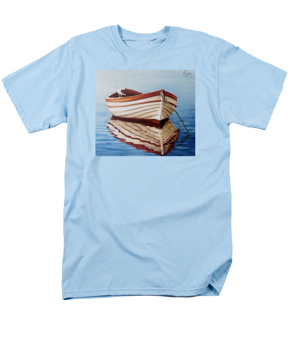 Sea Seascape Boat Reflections Water Ocean Seagull Bird Men's T-Shirt (Regular Fit) featuring the painting Contemplative by Natalia Tejera