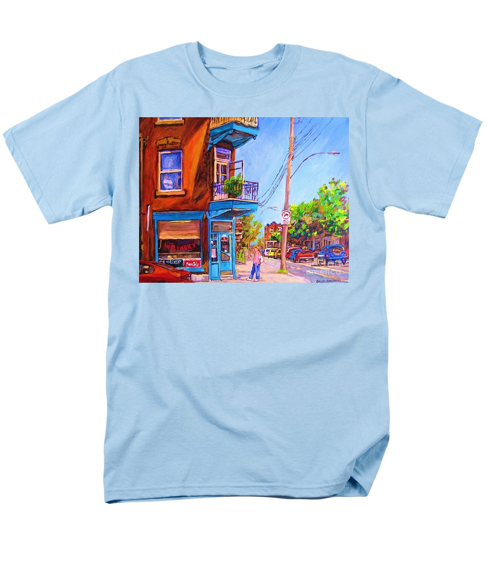 Wilenskys Corner Fairmount And Clark Men's T-Shirt (Regular Fit) featuring the painting Corner Deli Lunch Counter by Carole Spandau