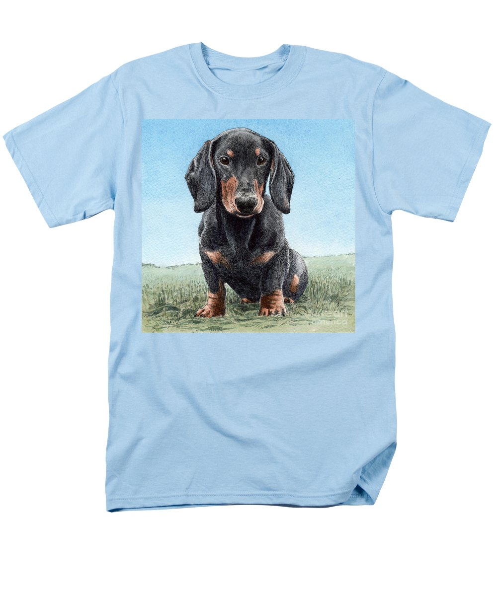 Daschund Men's T-Shirt (Regular Fit) featuring the painting Daschund by Keran Sunaski Gilmore