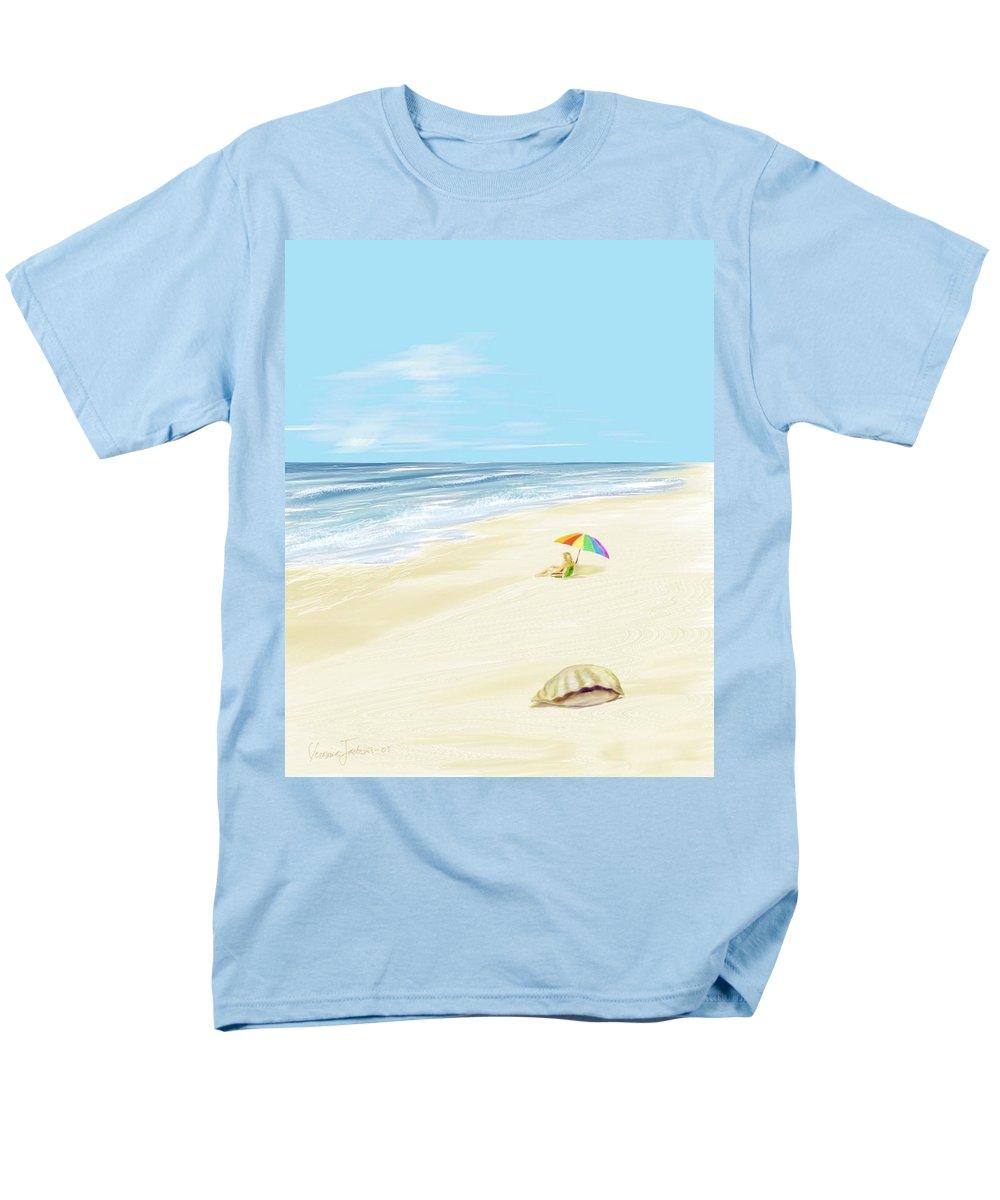 Beach Summer Sun Sand Waves Shells Men's T-Shirt (Regular Fit) featuring the digital art Day at the beach by Veronica Jackson