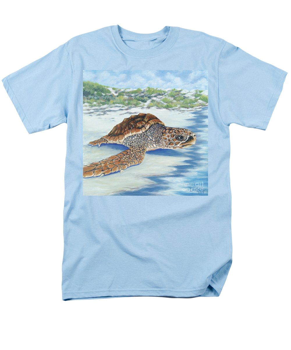 Sea Turtle Men's T-Shirt (Regular Fit) featuring the painting Dreaming of Islands by Danielle Perry