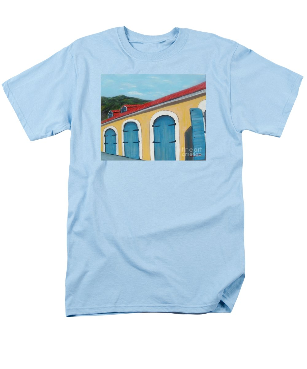 Doors Men's T-Shirt (Regular Fit) featuring the painting Dutch Doors of St. Thomas by Laurie Morgan