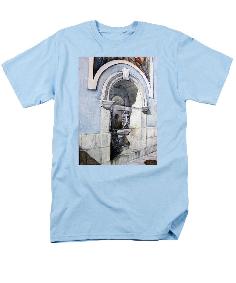 Fuente Men's T-Shirt (Regular Fit) featuring the painting Fuente Castro Urdiales by Tomas Castano
