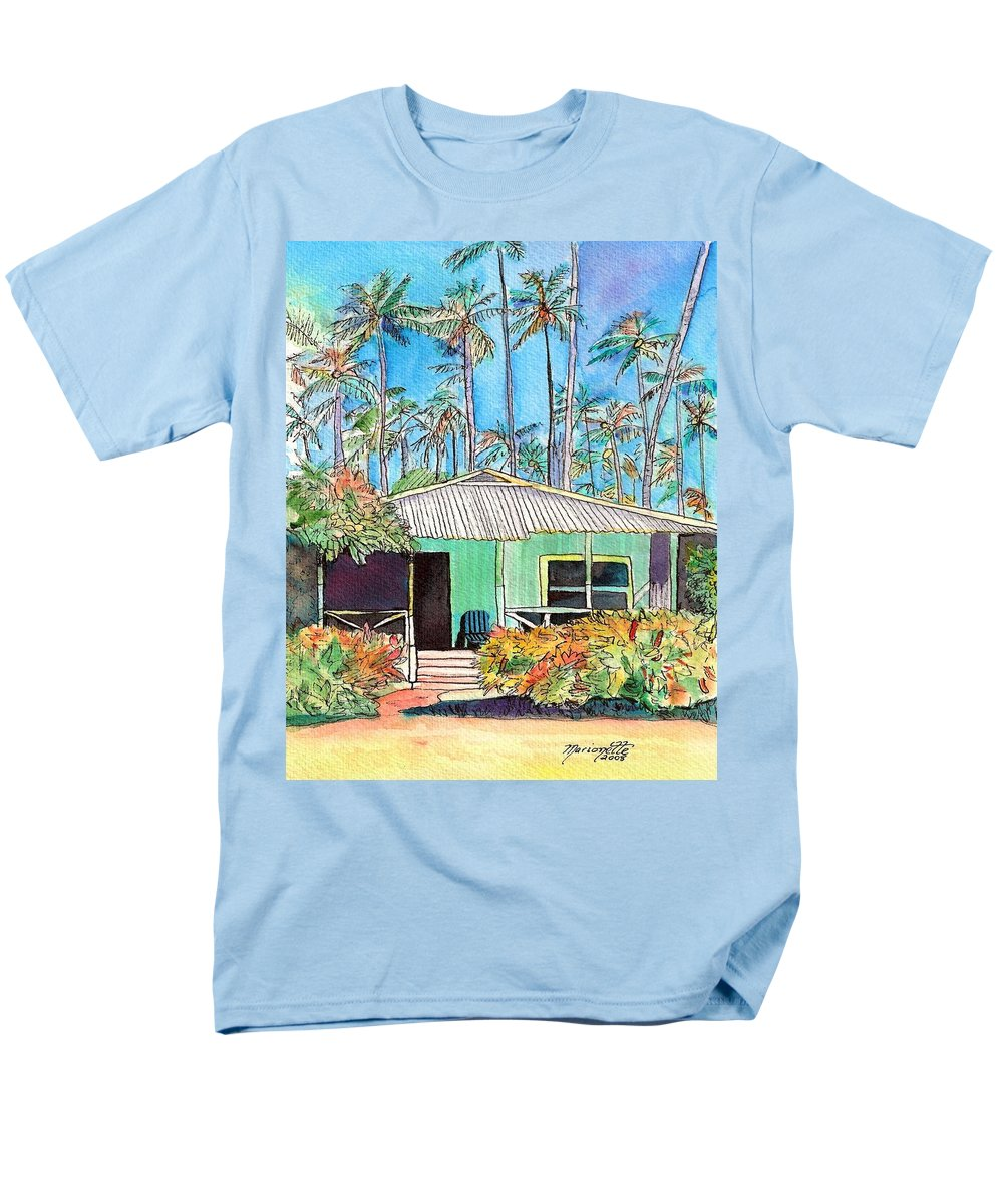 Cottage Men's T-Shirt (Regular Fit) featuring the painting Hawaiian Cottage I by Marionette Taboniar