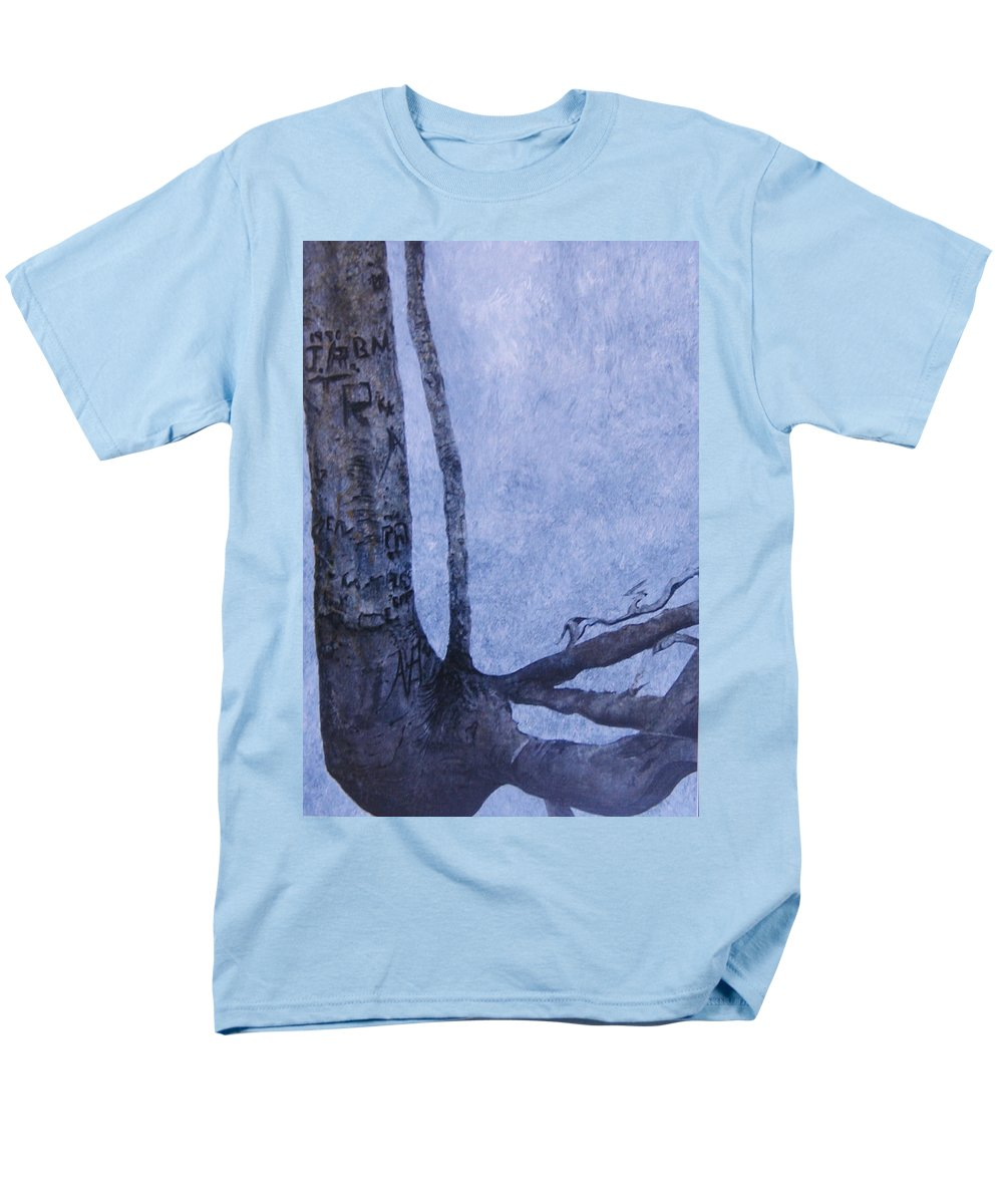 Tree Trunk Men's T-Shirt (Regular Fit) featuring the painting Hedden Park II by Leah Tomaino