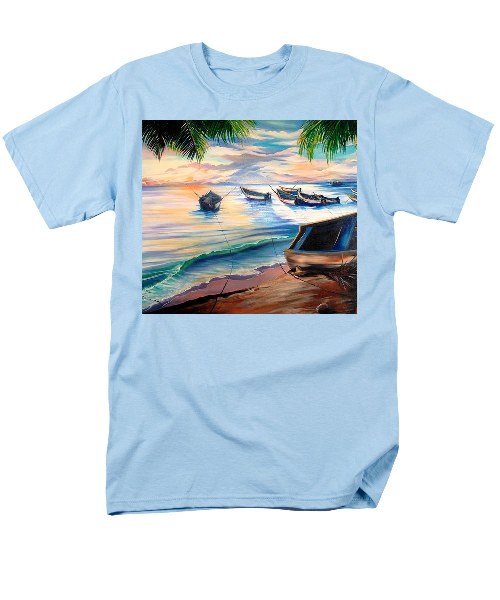 Ocean Painting Caribbean Painting Seascape Painting Beach Painting Fishing Boats Painting Sunset Painting Blue Palm Trees Fisherman Trinidad And Tobago Painting Tropical Painting Men's T-Shirt (Regular Fit) featuring the painting Home From The Sea by Karin Dawn Kelshall- Best