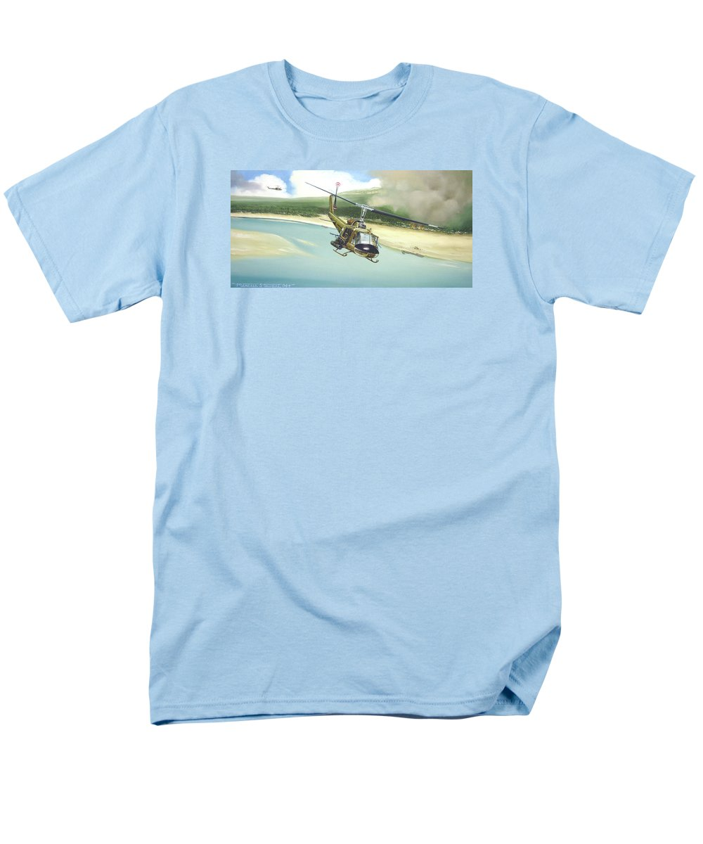 Military Men's T-Shirt (Regular Fit) featuring the painting Hunter Hueys by Marc Stewart