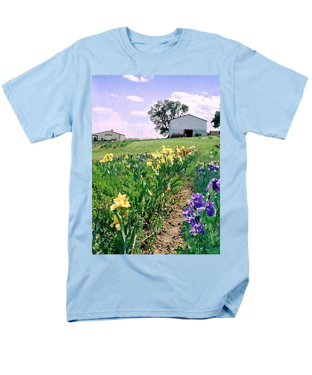Landscape Painting Men's T-Shirt (Regular Fit) featuring the photograph Iris Farm by Steve Karol