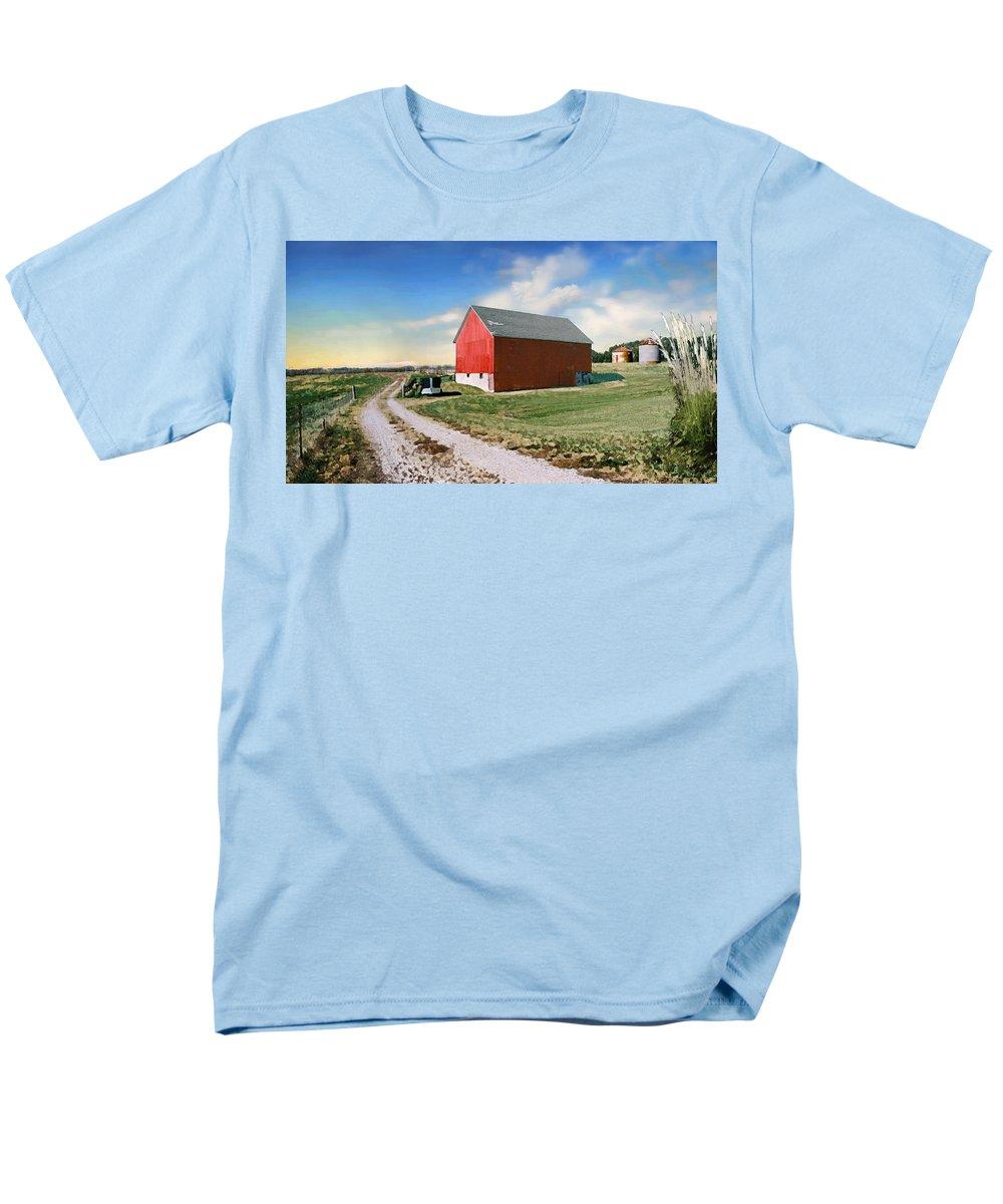 Barn Men's T-Shirt (Regular Fit) featuring the photograph Kansas landscape II by Steve Karol