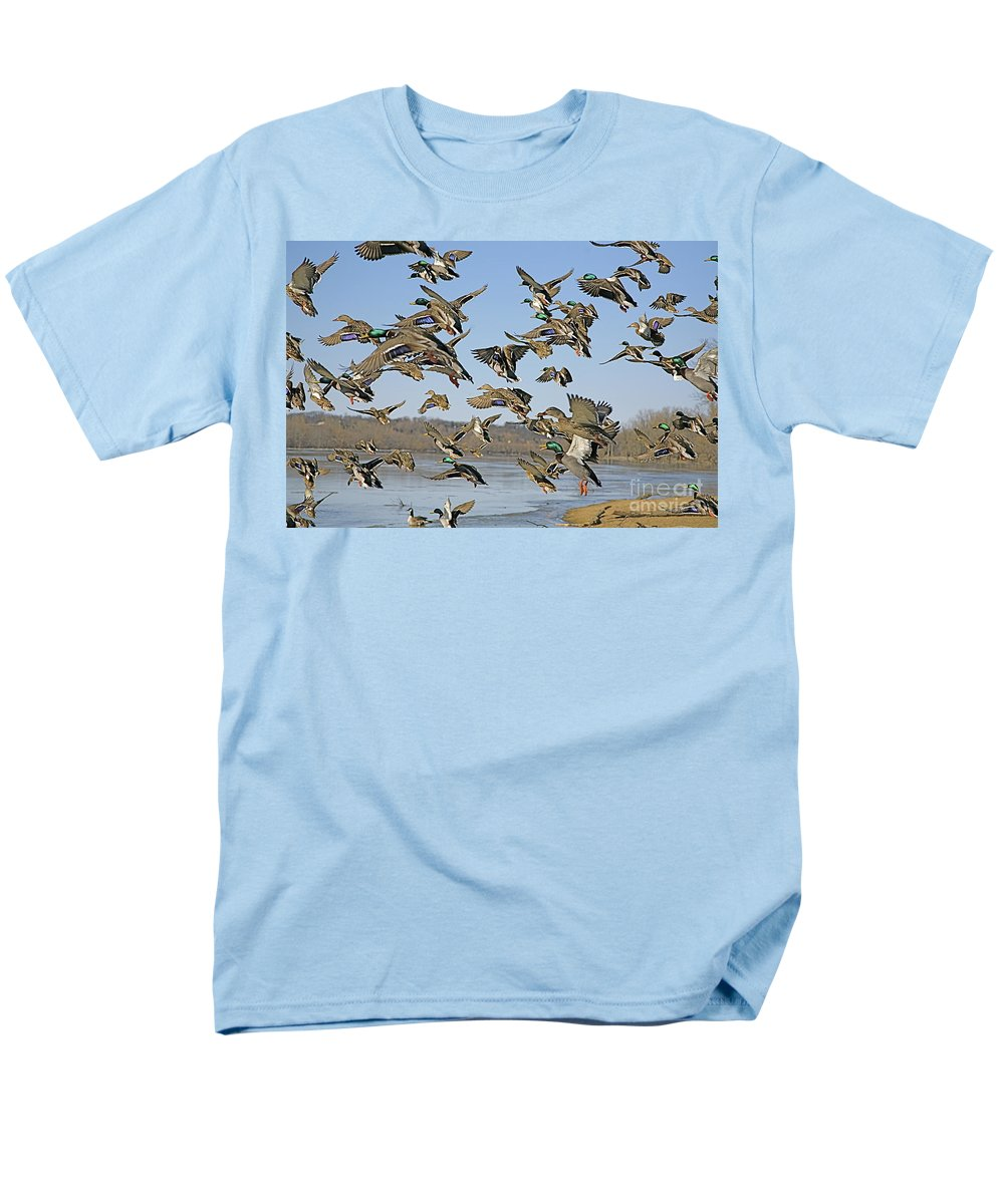 Nature Feather Men's T-Shirt (Regular Fit) featuring the photograph Mad rush by Robert Pearson