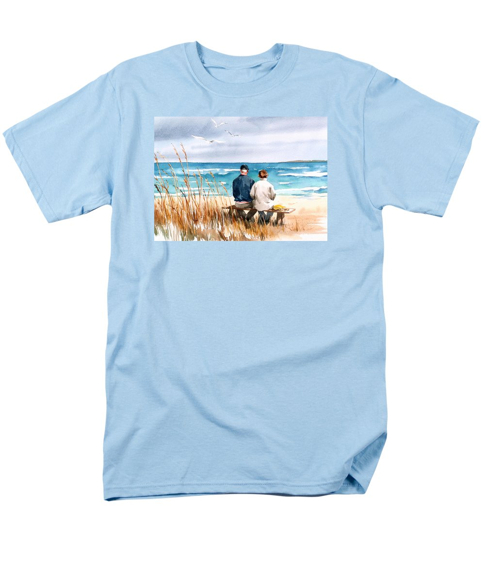 Couple On Beach Men's T-Shirt (Regular Fit) featuring the painting Memories by Art Scholz