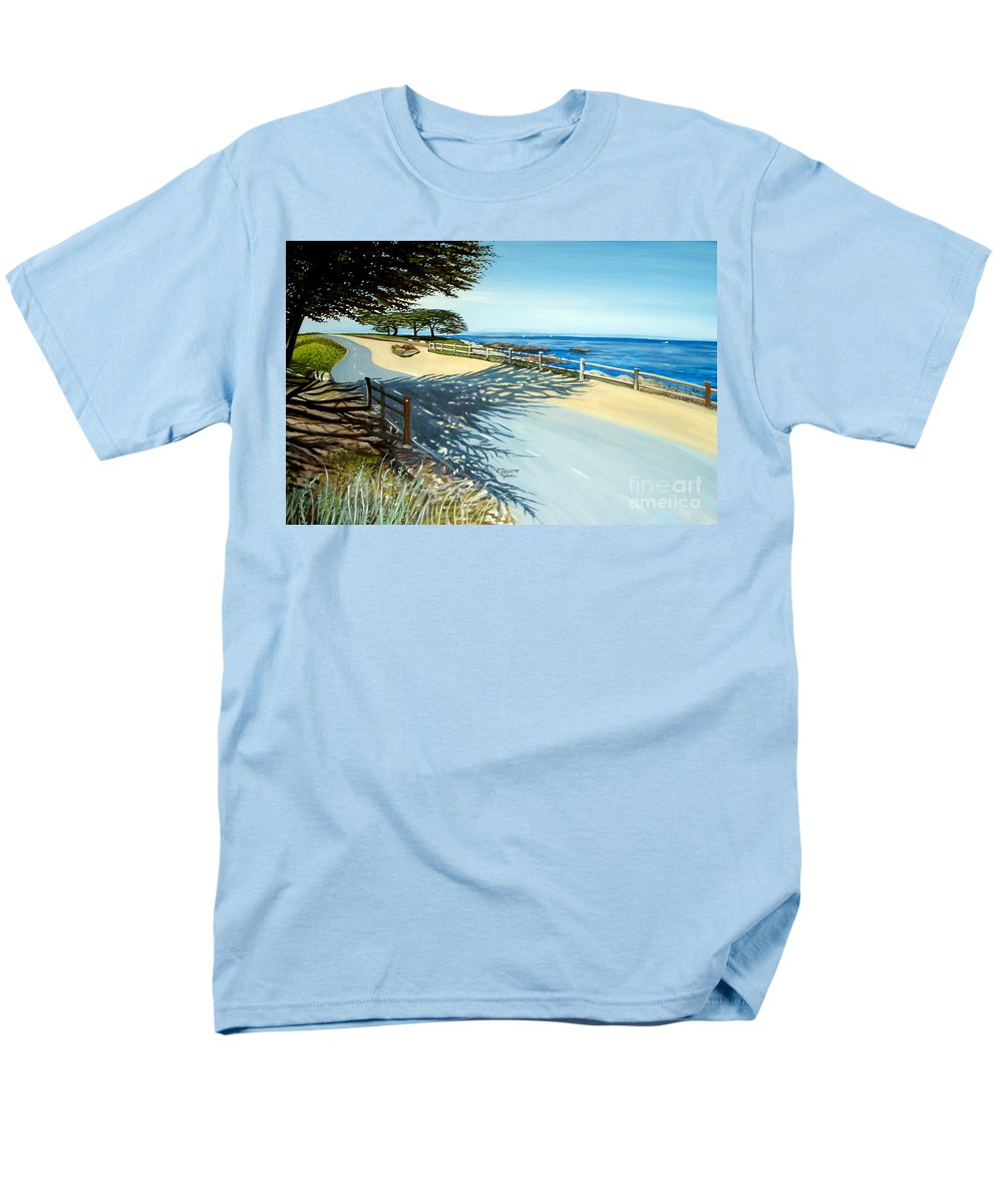 Landscape Men's T-Shirt (Regular Fit) featuring the painting Monterey Shadows by Elizabeth Robinette Tyndall