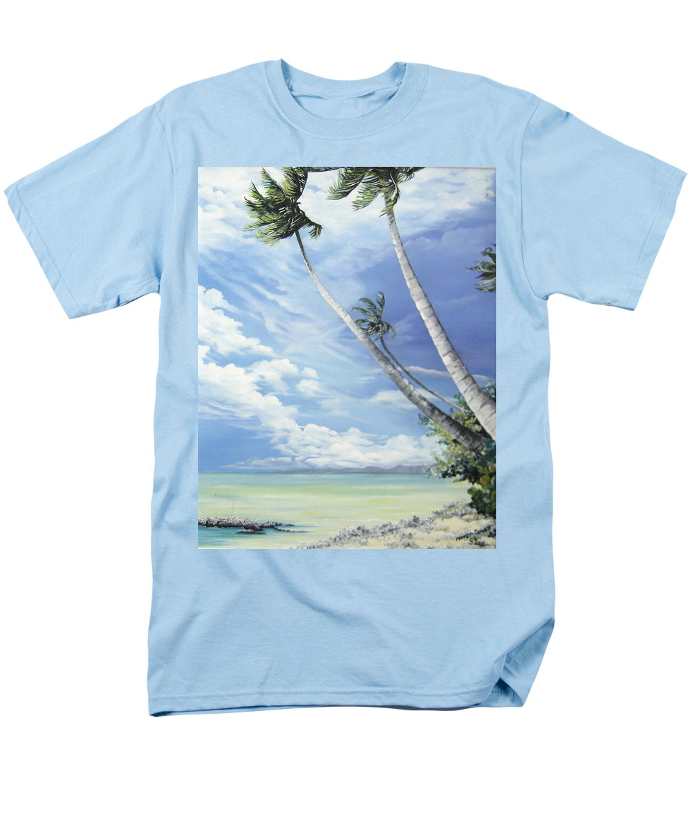 Ocean Painting Seascape Painting Beach Painting Palm Tree Painting Clouds Painting Tobago Painting Caribbean Painting Sea Beach T Obago Palm Trees Men's T-Shirt (Regular Fit) featuring the painting Nylon Pool Tobago. by Karin Dawn Kelshall- Best