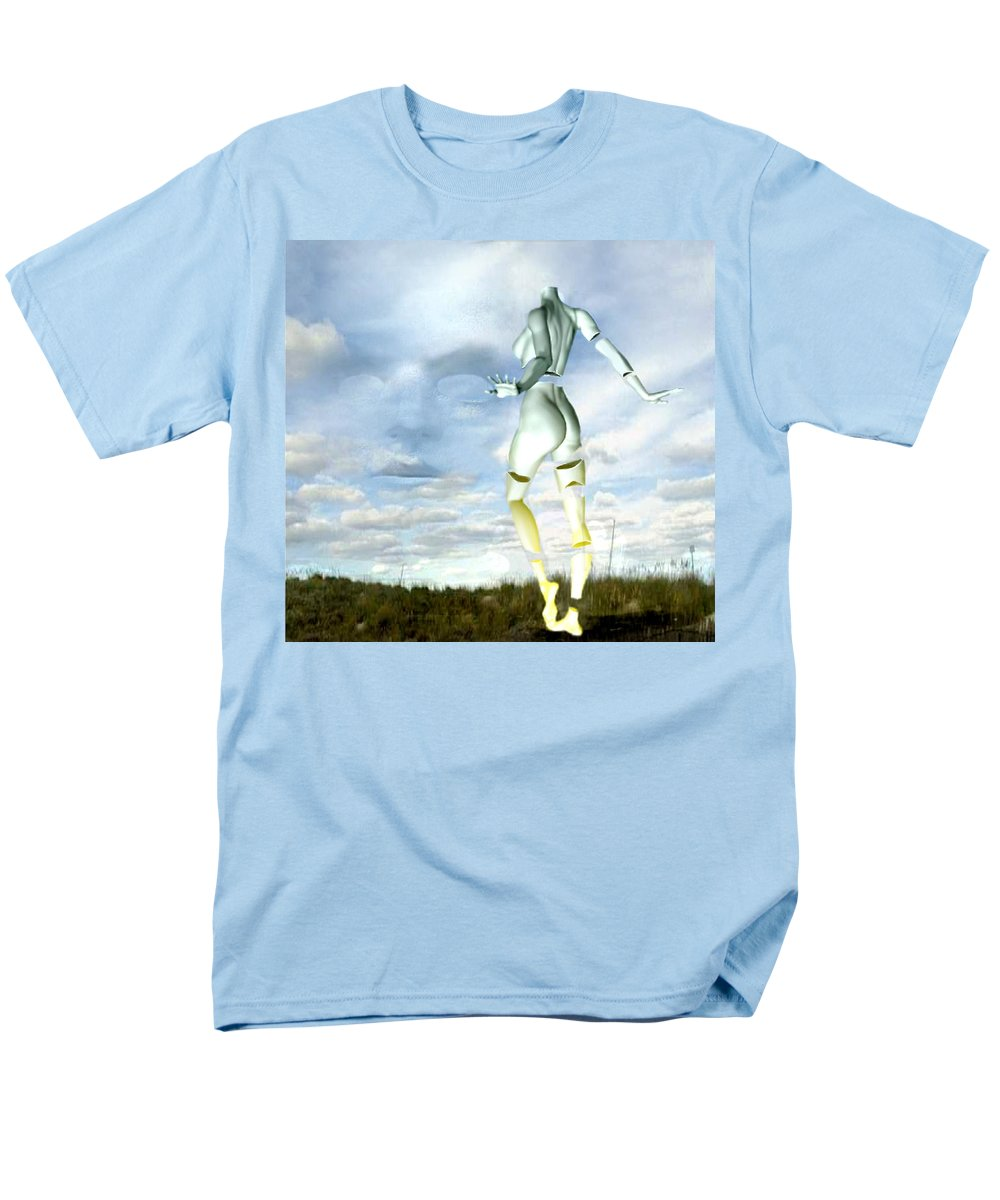 Sky Naked Woman Surreal Dance Men's T-Shirt (Regular Fit) featuring the digital art Out of my mind... by Veronica Jackson