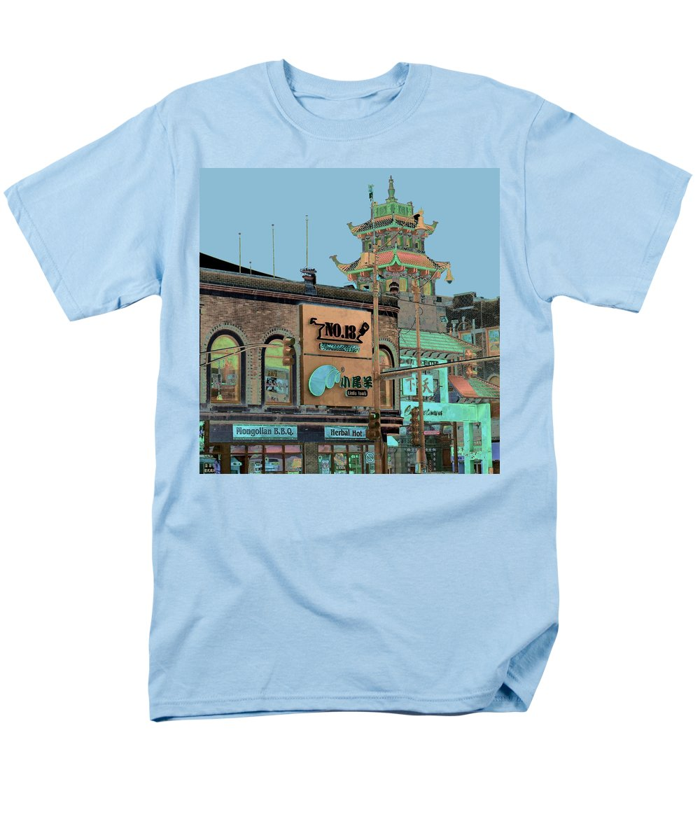 China Town Men's T-Shirt (Regular Fit) featuring the photograph Pagoda Tower Chinatown Chicago by Marianne Dow