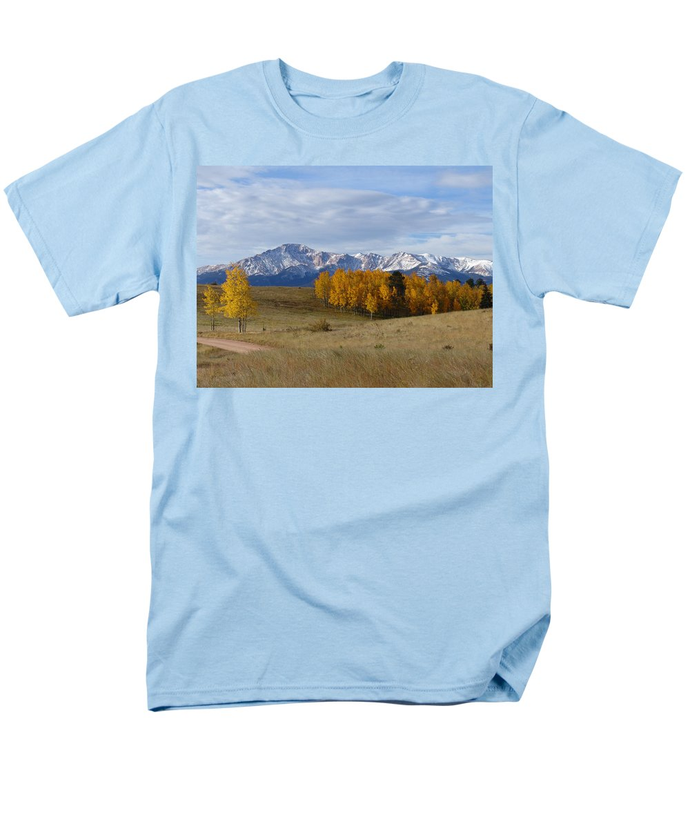 Fall Men's T-Shirt (Regular Fit) featuring the photograph Pikes Peak in the Fall by Carol Milisen