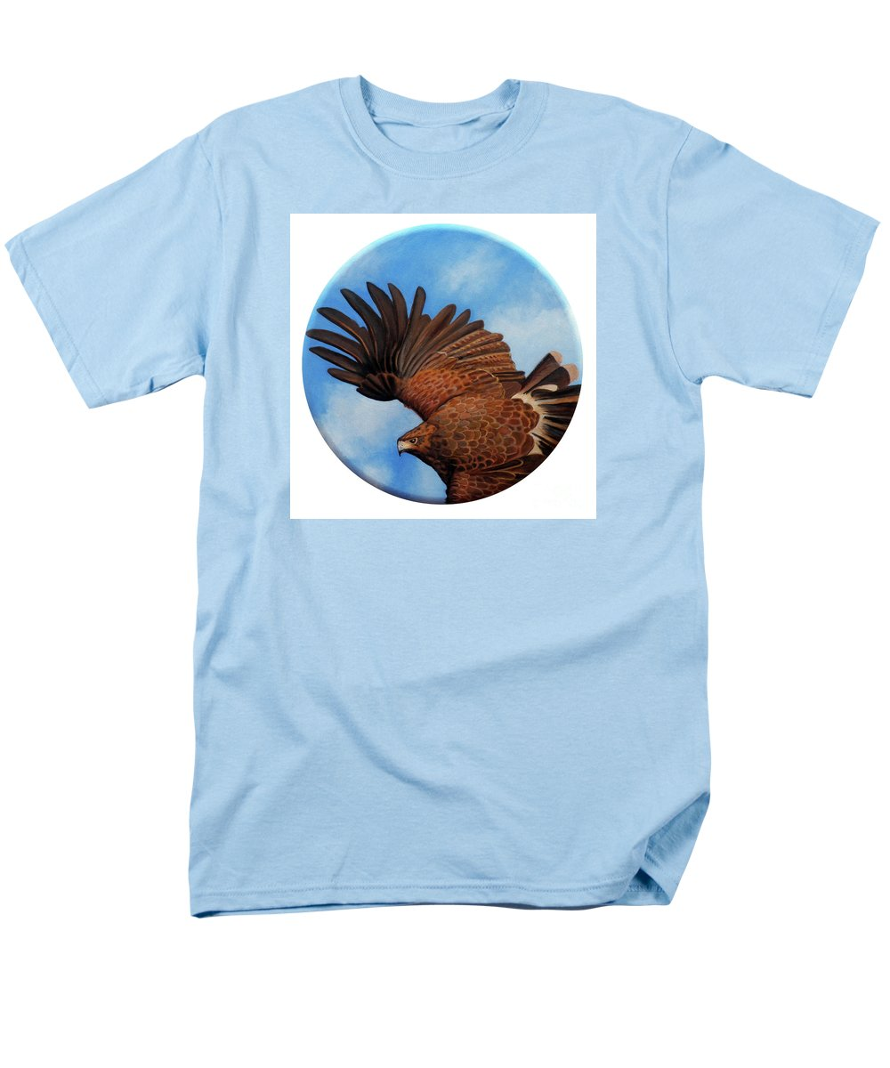 Hawk Men's T-Shirt (Regular Fit) featuring the painting Riding The Wind by Brian Commerford