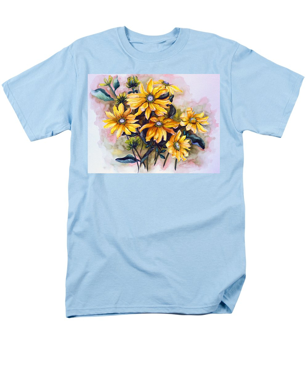 Flower Painting Sun Flower Painting Flower Botanical Painting  Original Watercolor Painting Rudebeckia Painting Floral Painting Yellow Painting Greeting Card Painting Men's T-Shirt (Regular Fit) featuring the painting RUDBECKIA Prairie Sun by Karin Dawn Kelshall- Best