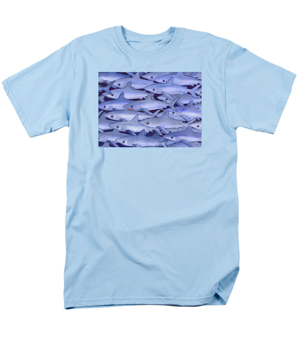 Shark Men's T-Shirt (Regular Fit) featuring the painting Sharks by Catherine G McElroy