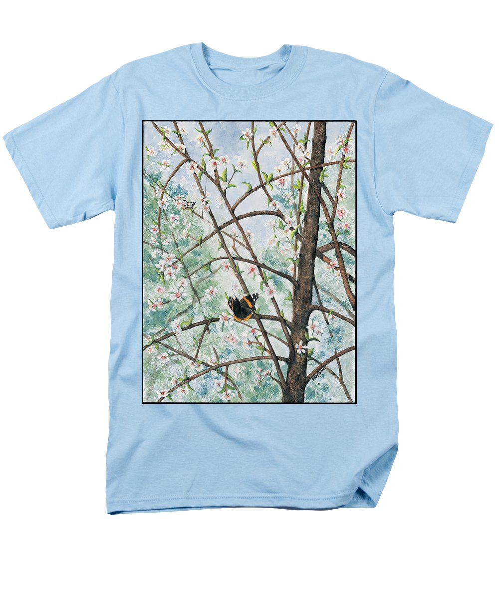 Butterfly Men's T-Shirt (Regular Fit) featuring the painting Spring Blossom by Mary Tuomi