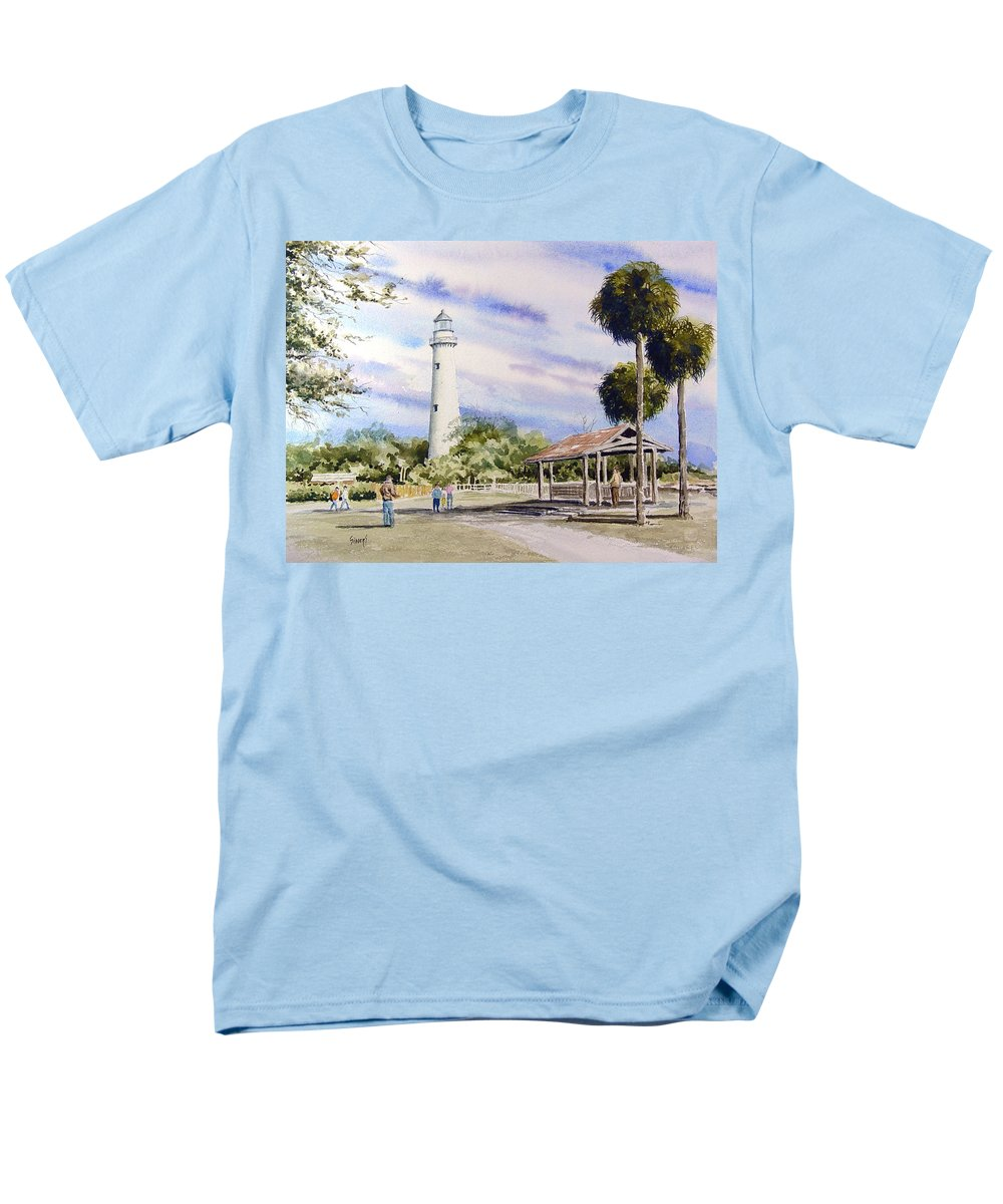 Lighthouse Men's T-Shirt (Regular Fit) featuring the painting St. Simons Island Lighthouse by Sam Sidders