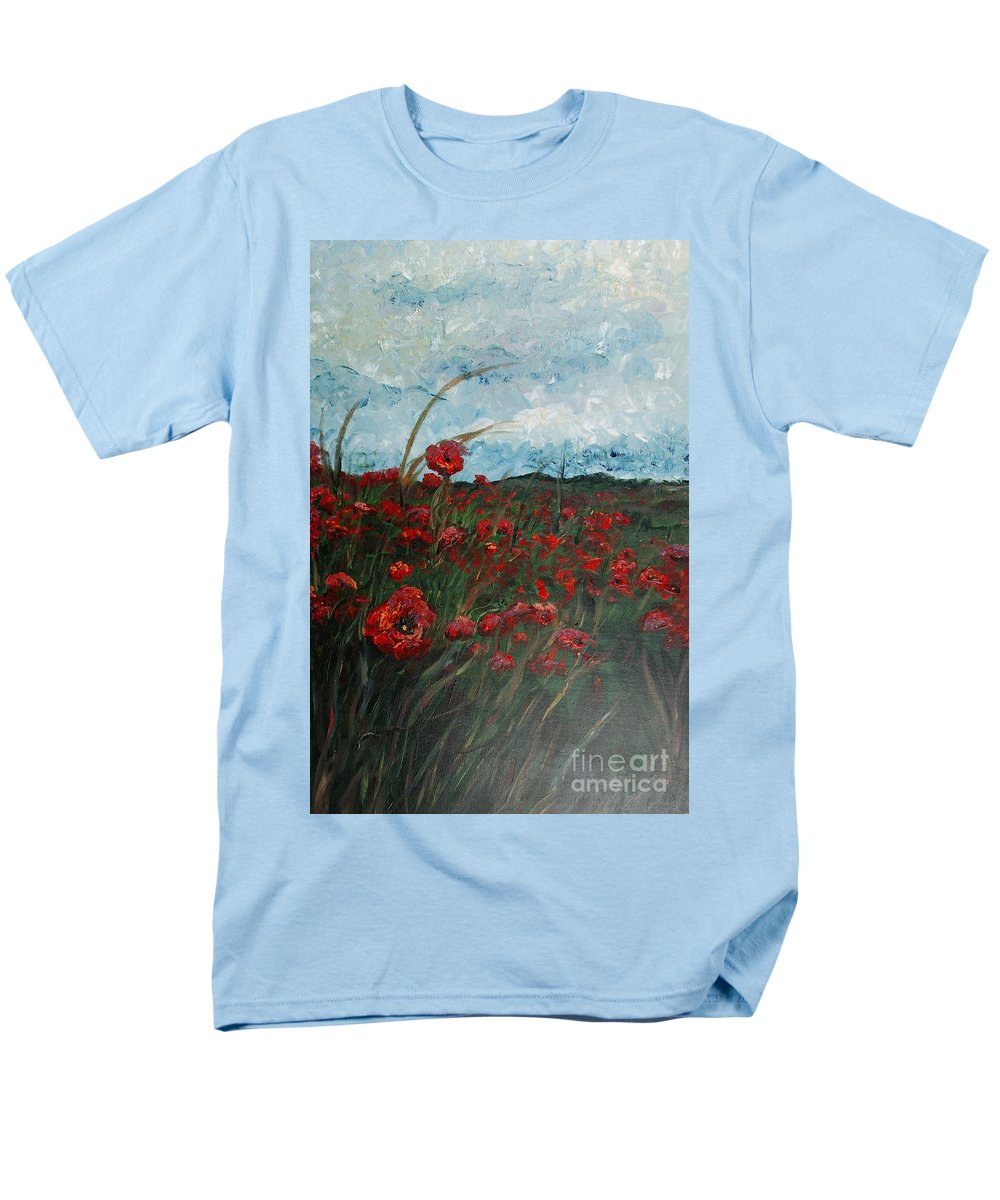 Poppies Men's T-Shirt (Regular Fit) featuring the painting Stormy Poppies by Nadine Rippelmeyer