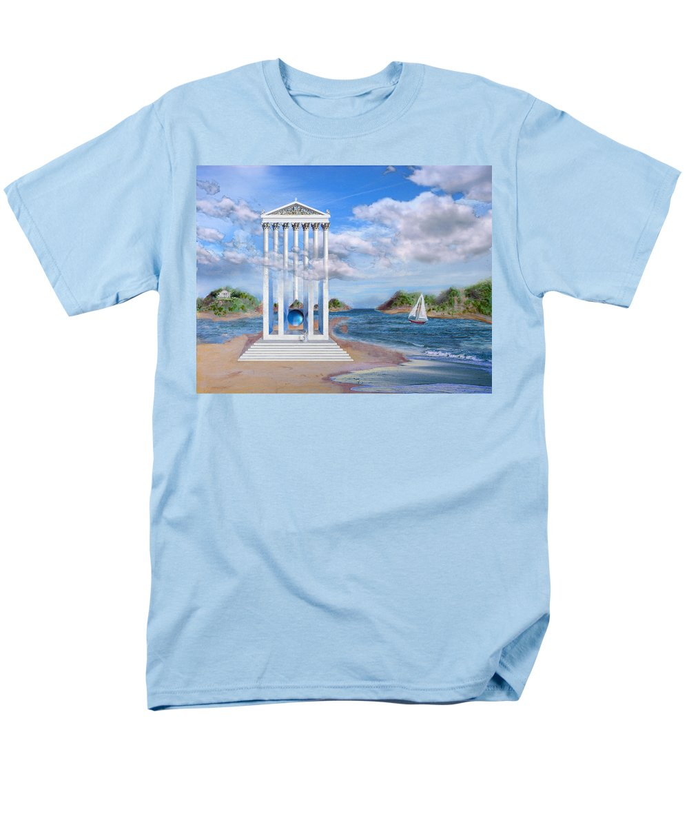 Landscape Men's T-Shirt (Regular Fit) featuring the painting Temple for No One by Steve Karol