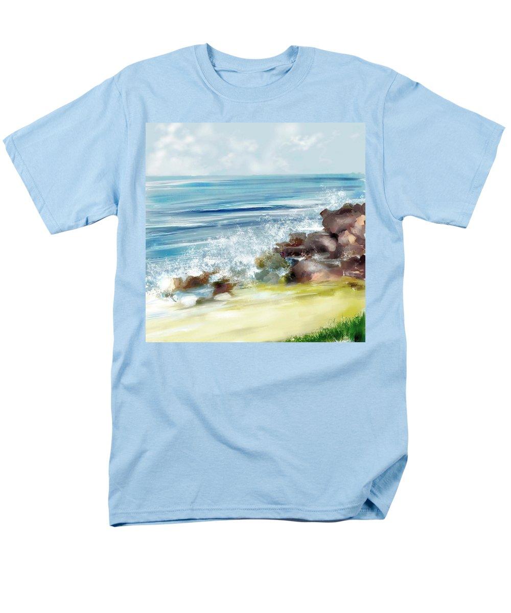 Beach Ocean Water Summer Waves Splash Men's T-Shirt (Regular Fit) featuring the digital art The Beach by Veronica Jackson