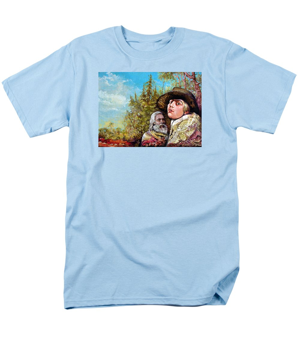 Surrealism Men's T-Shirt (Regular Fit) featuring the painting The Dauphin And Captain Nemo Discovering Bogomils Island by Otto Rapp