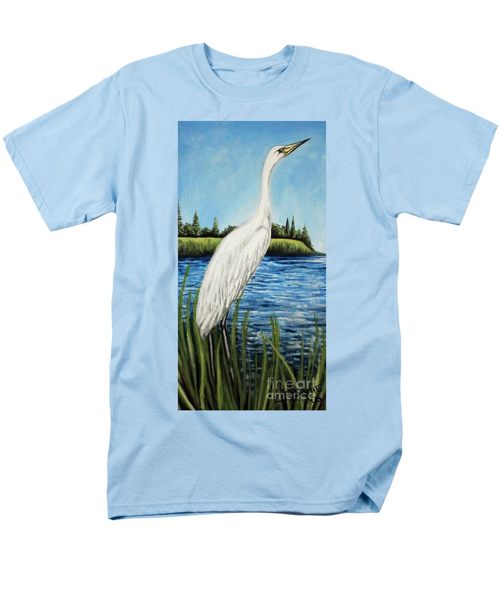 Landscape Men's T-Shirt (Regular Fit) featuring the painting The Island's Egret by Elizabeth Robinette Tyndall