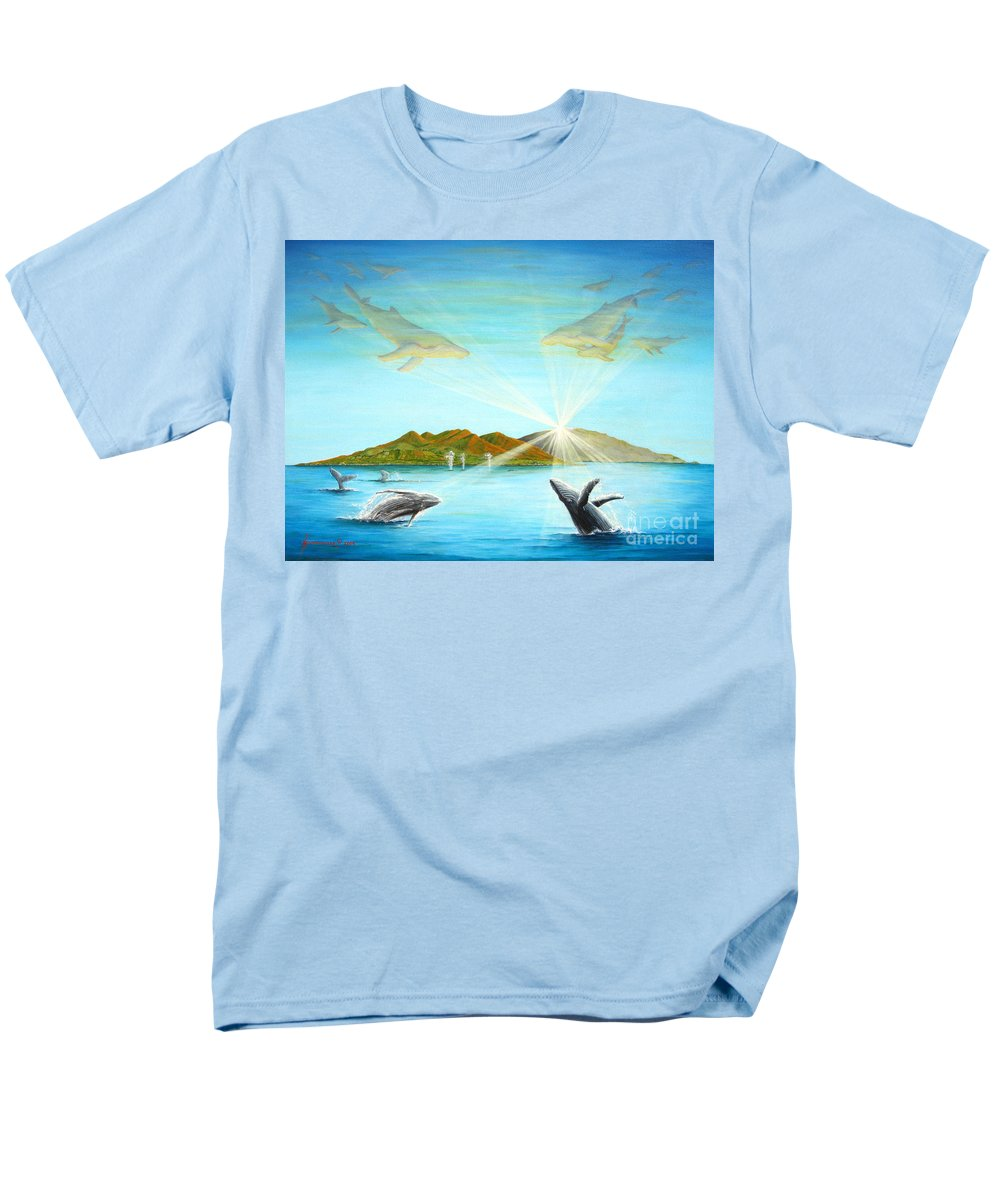 Whales Men's T-Shirt (Regular Fit) featuring the painting The Whales Of Maui by Jerome Stumphauzer