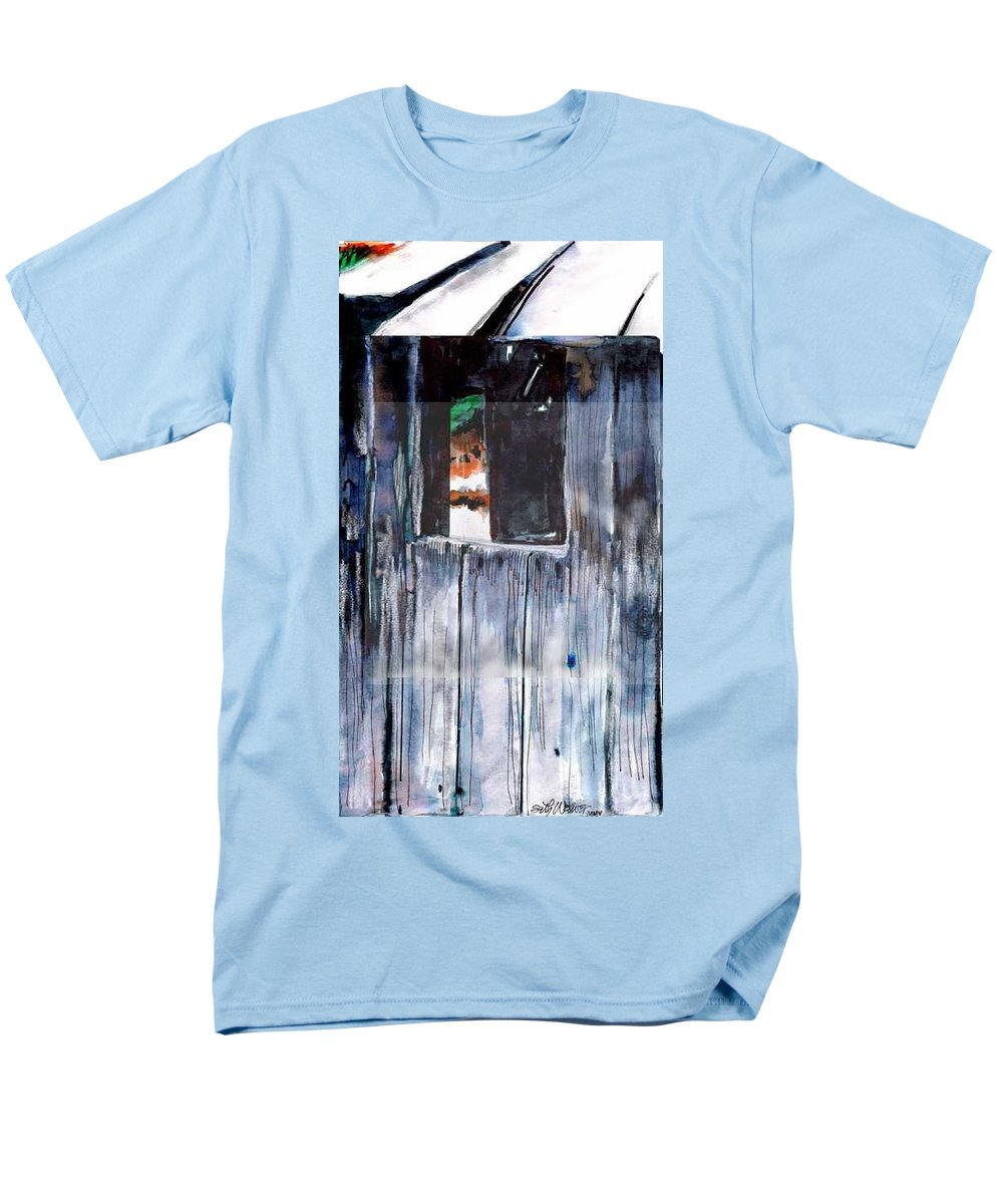 An Old Mysterious Barn With Deep Dark Shadows And Secrets. Rustic And Moody. Men's T-Shirt (Regular Fit) featuring the drawing Thru the Barn Window by Seth Weaver