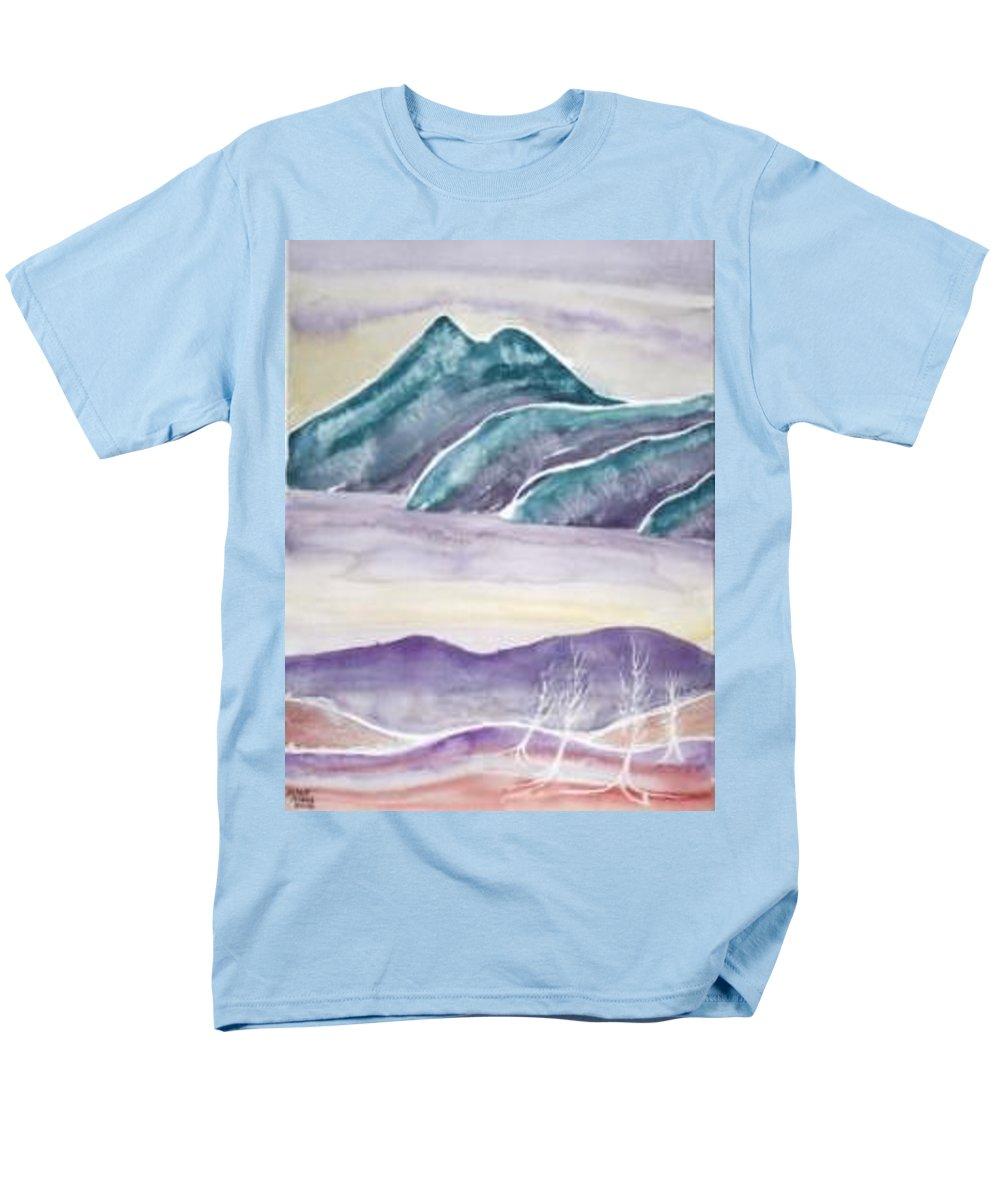 Watercolor Men's T-Shirt (Regular Fit) featuring the painting TRANQUILITY landscape mountain surreal modern fine art print by Derek Mccrea