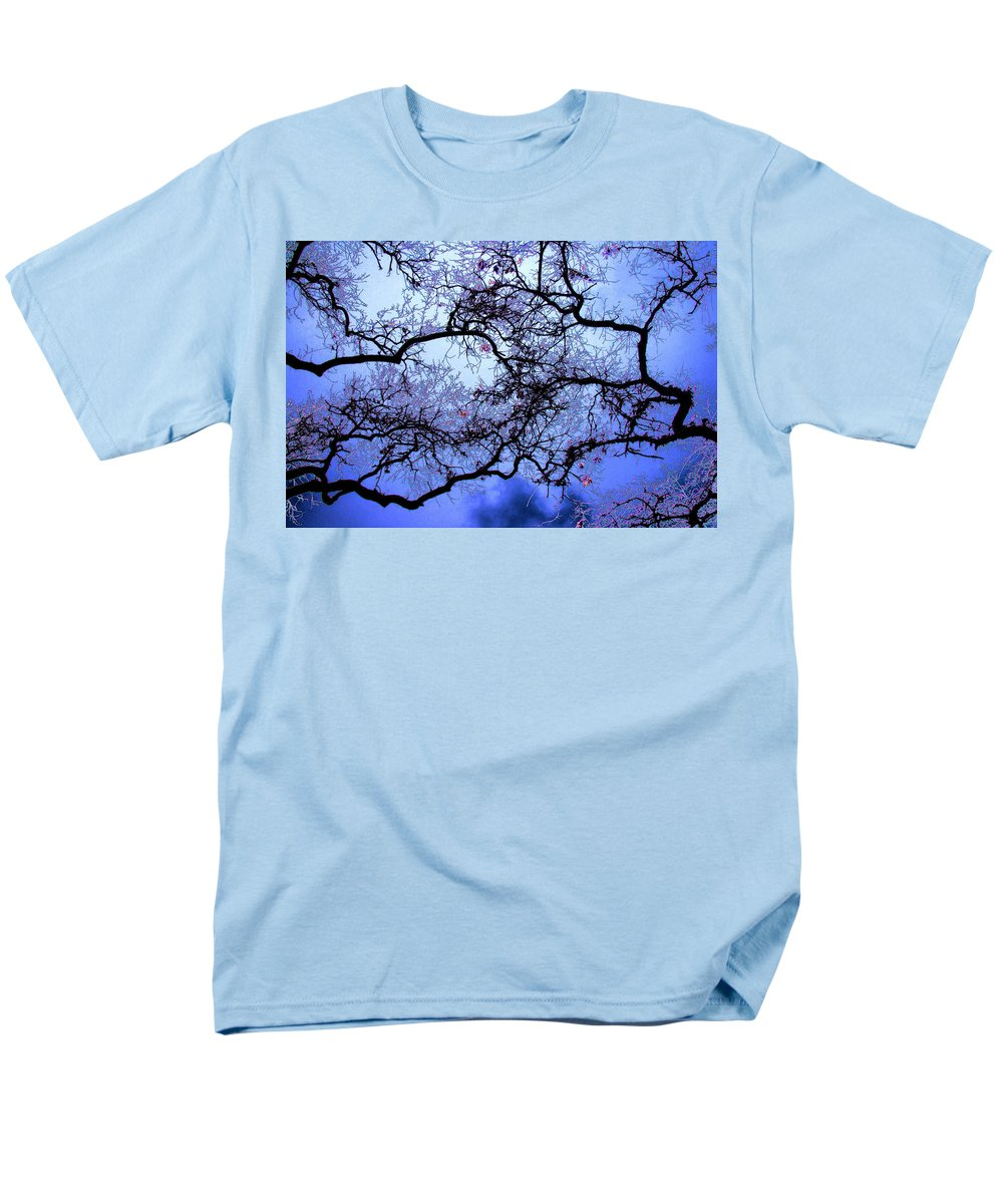 Scenic Men's T-Shirt (Regular Fit) featuring the photograph Tree Fantasy In Blue by Lee Santa