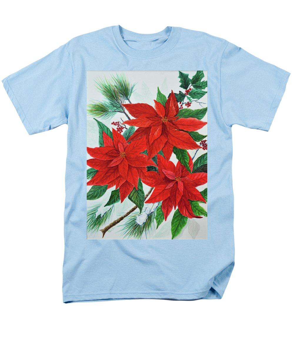 Poinsettias Men's T-Shirt (Regular Fit) featuring the painting Poinsettias by Ben Kiger