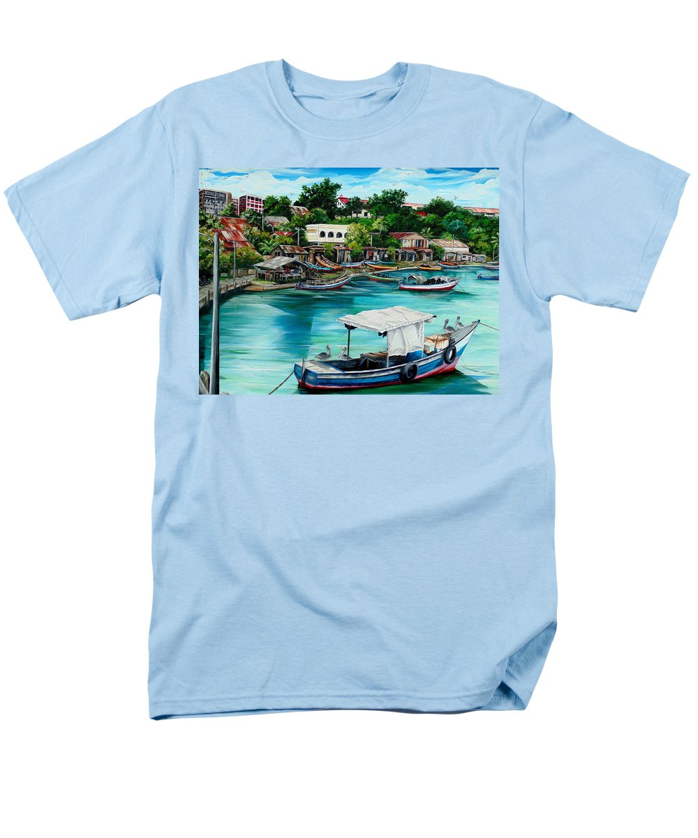 Ocean Painting Sea Scape Painting Fishing Boat Painting Fishing Village Painting Sanfernando Trinidad Painting Boats Painting Caribbean Painting Original Oil Painting Of The Main Southern Town In Trinidad  Artist Pob Men's T-Shirt (Regular Fit) featuring the painting Sanfernando Wharf by Karin Dawn Kelshall- Best