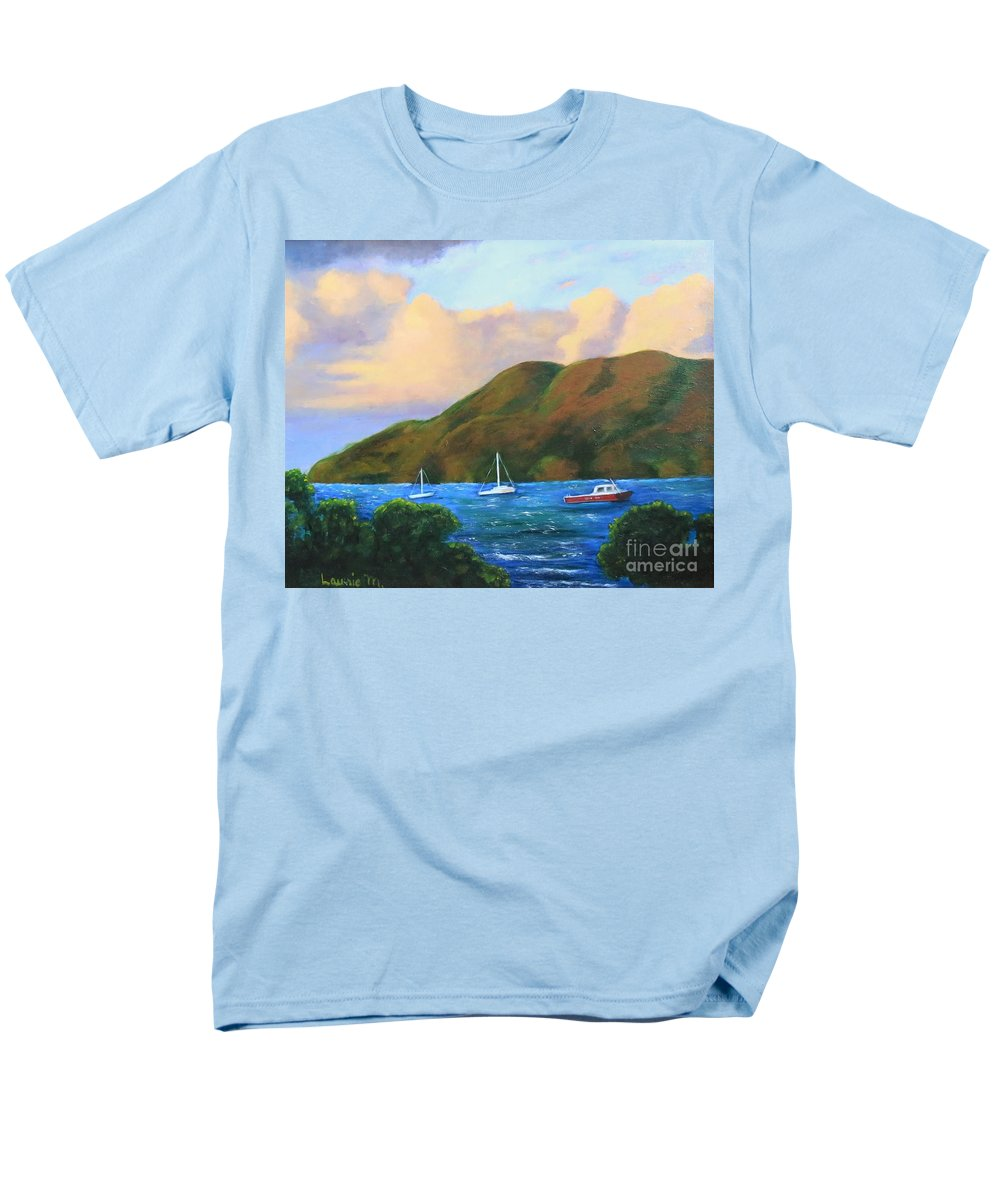 Sunset Men's T-Shirt (Regular Fit) featuring the painting Sunset on Cruz Bay by Laurie Morgan